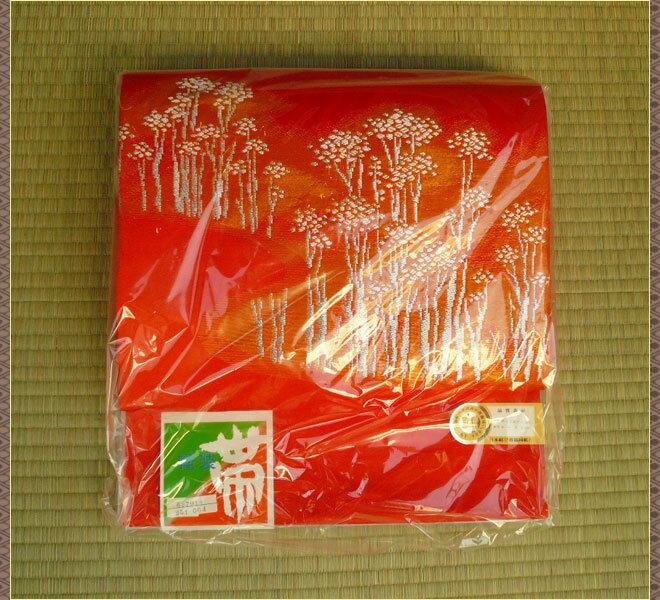 作り帯 化繊 オレンジ色 未使用