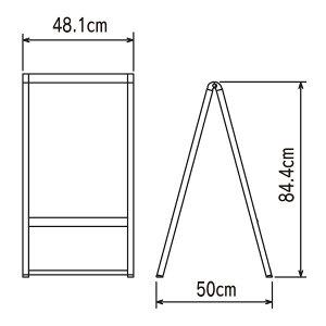 白黒A型スタンド看板(SS)寸法