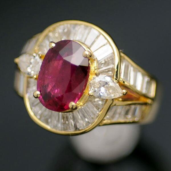 ♪リング 指輪♪ K18/ルビーR2,05 ダイヤD2,15/#13 【JR1244】【税込価格】【質屋出店】【中古】【あす楽対応】