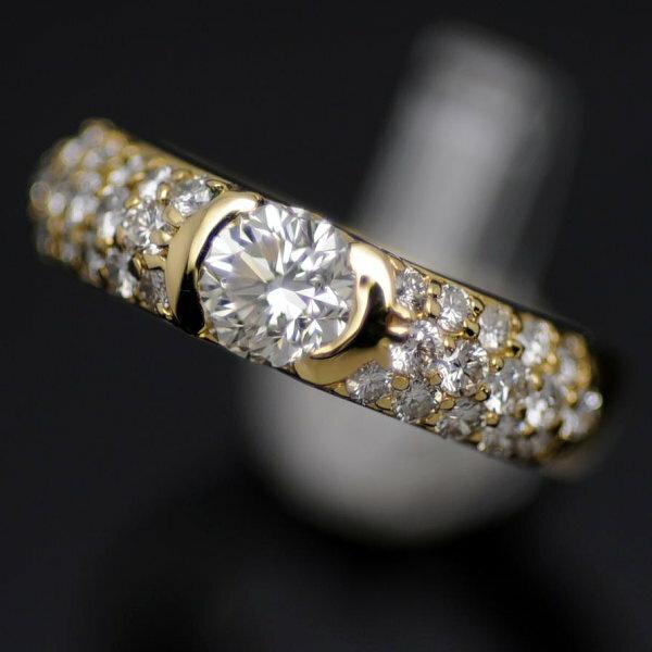 ♪リング 指輪♪ K18/ダイヤD0,51 0,50/#8 【JR1259】【税込価格】【質屋出店】【中古】【あす楽対応】