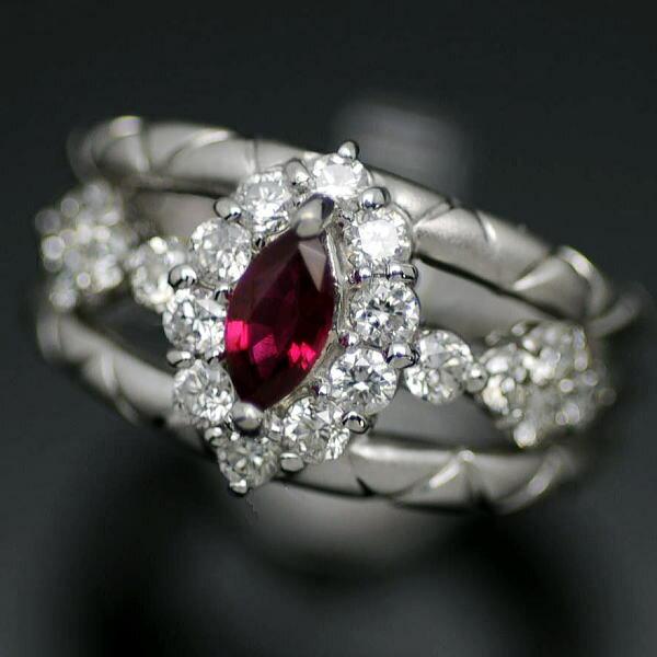 ♪リング 指輪♪ K18WG/ルビーR0,30 ダイヤD0,75/#11,5 【JR1260】【税込価格】【質屋出店】【中古】【あす楽対応】