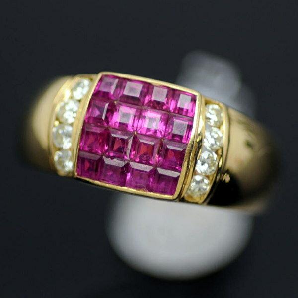 ♪リング 指輪♪ 18K/ルビーR2,00 ダイヤD0,24/#12 【JR1306】【税込価格】【質屋出店】【中古】【あす楽対応】