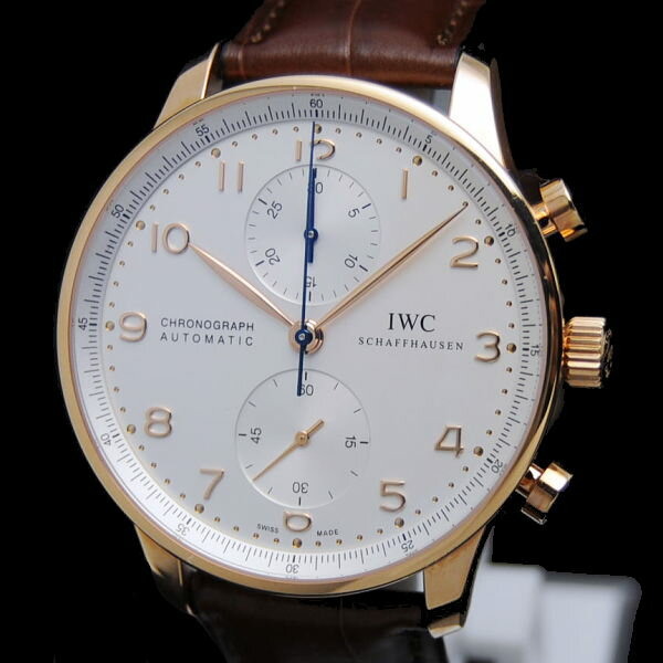◆IWC International Watch Company◆ 【箱 保】メンズ時計/ポルトギーゼクロノ/K18PG×レザー/シルバー/IW371480 【MW743】【税込価格】【質屋出店】【中古】【あす楽対応】