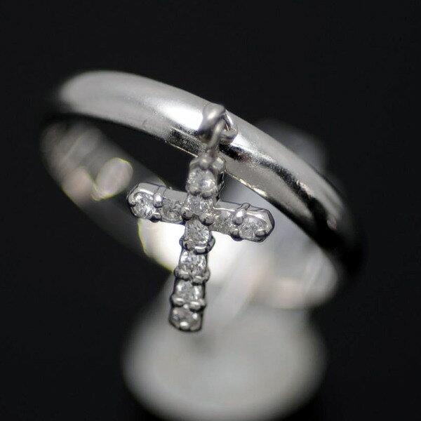 ♪リング 指輪♪ Pt900/ダイヤ入/クロス/#12 【JR1450】【税込価格】【質屋出店】【中古】【あす楽対応】