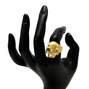 ♪リング指輪♪K18YG/ダイヤD0,130,025/ドクロ/スカル/#18【JR1637】【税込価格】【質屋出店】【中古】【あす楽対応】