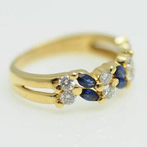 ♪リング指輪♪K18YG/サファイアS0,46ダイヤD0,50/#15【JR1666】【税込価格】【質屋出店】【中古】【あす楽対応】