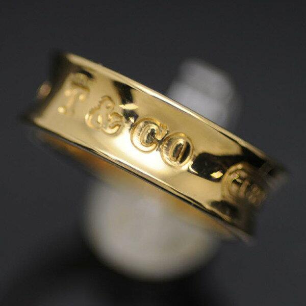 ◆ティファニー Tiffany&Co◆ リング/指輪/ナローリング/K18YG/1837/#9 【BJ657】【税込価格】【質屋出店】【中古】【あす楽対応】