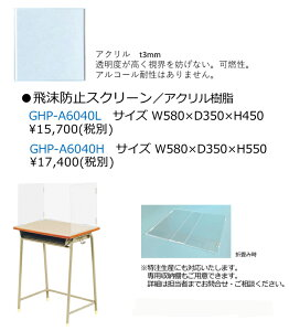 飛沫防止スリーン/アクリル樹脂 三面タイプ GHP-A6040H  W580×D350×H550 アクリル板(透明):厚さt3mm厚) 組立【送料無料】【smtb-TK】