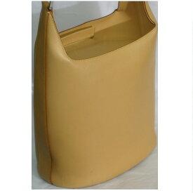 【中古】本物美品フェラガモ女性用濃いベージュ色可愛いバケツ型セミショルダーバッグ サイズW22,5H24D14cm ○C13-191
