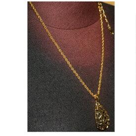 【中古】本物新品同様イヴ・サンローラン女性用金色金具彫り抜き楕円形金色大きいトップのついたチェーンネックレス重さ24,9g プレゼントに最適です ○B12-121-2