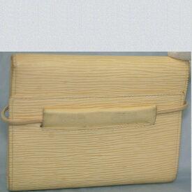 【中古】本物綺麗L/Vエピのヴァニラ色のパース,エラスティックM6346A 14センチ3つ折小ぶりの開閉部分のゴム式の財布