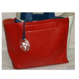 476fa96709c4 中古 【中古】本物フルラ女性用赤x白x青カラフル25cmレザートートバッグ白色に少し色写りあります