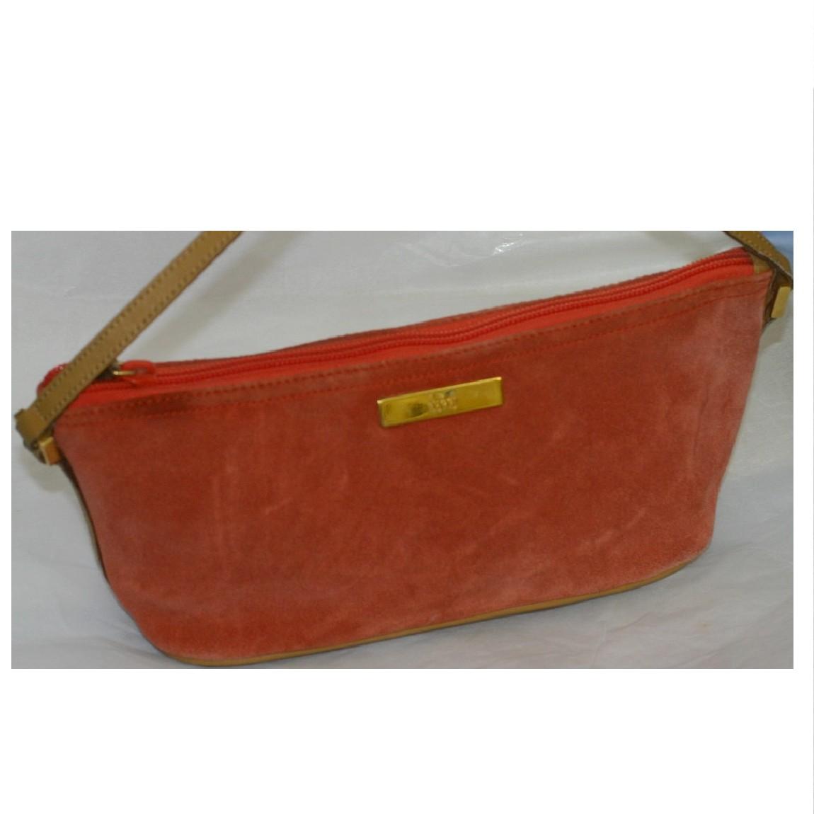 【中古】本物可グッチオレンジ色スエード素材xキャメル色革ハンドポーチ サイズW26H12D10cm