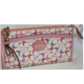 【中古】本物美品コーチ女性用バッグに取り付け可能防水加工のピンク色系シグネチャー模様ハンドポーチサイズW19,5H10,5D2cm ○C12-316