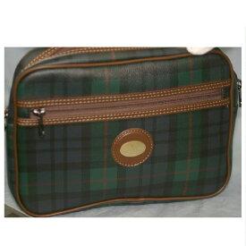 【中古】本物新品ルドルフヴァレンティノbyACE紳士用カーキチェック26cmセカンドバッグ ○C7-572