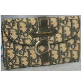 【中古】本物美品C,Dior青ロゴ女性用キャンバス素材Wホック財布レア サイズW17H11D2cm レア ○C7-542