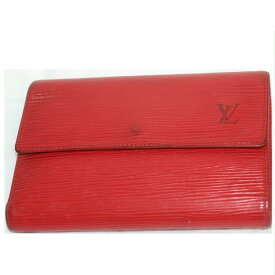 【中古】本物可L/Vエピの赤い3つ折り財布M63717 サイズW16H11,5D2cm ○C13-286