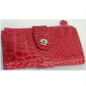 【中古】本物可女性用濃い赤色クロコダイル素材xパープル色カーフ素材ファスナー付小銭入れの付いたホック式長財布 サイズW18,5H10D2cm ○C13-141