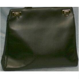 【中古】本物綺麗フェラガモ女性用35センチ黒お洒落な柔らかい革トートバッグ ○C8-32