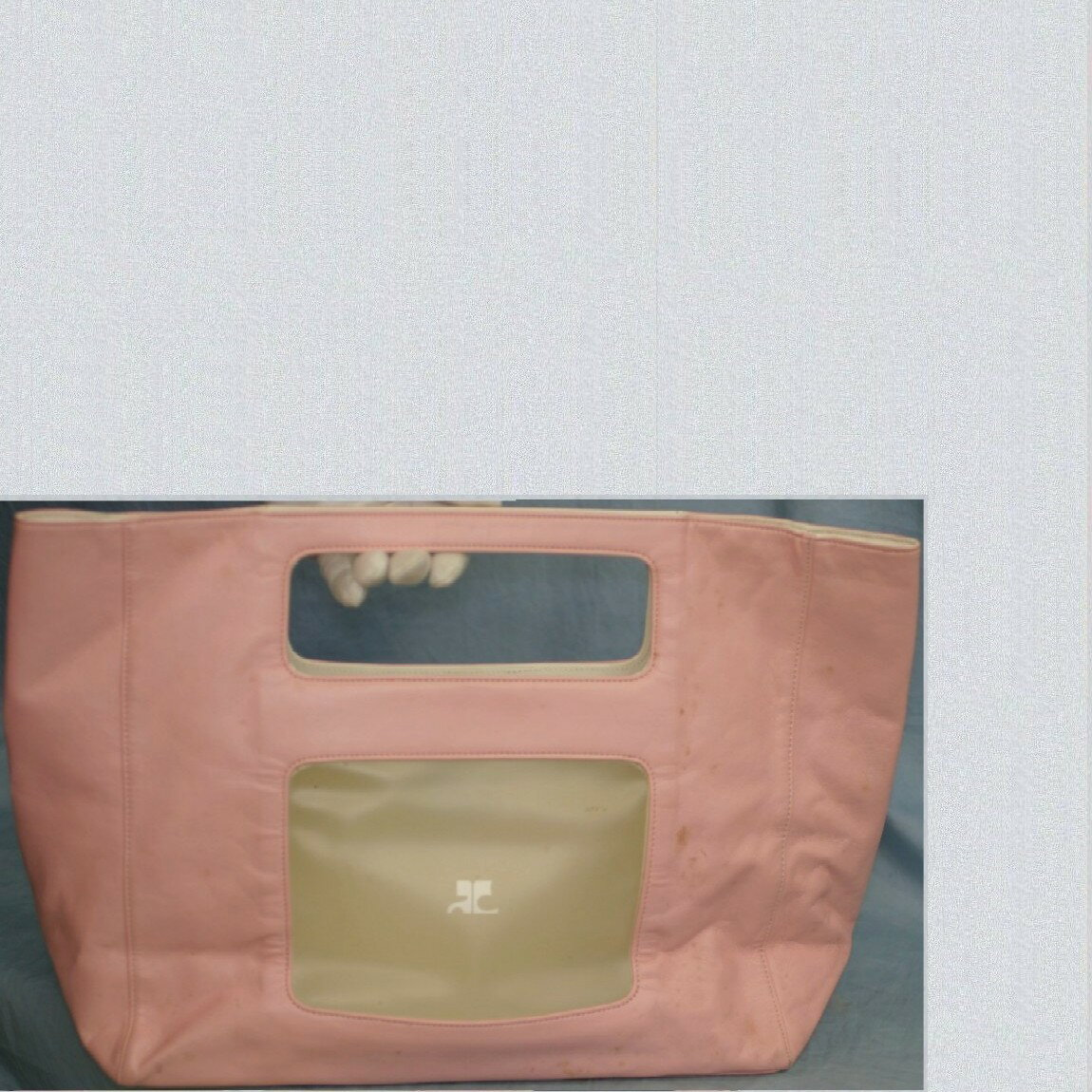 【中古】本物可クレージュ33,5x28x12cm可愛いピンクの四角いトート