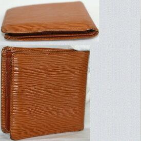 【中古】本物結構なUSED品L/Vエピのケニアンブラウン色紳士用2つ折り財布M63553