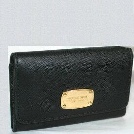 【中古】本物無傷の新品同様品マイケルコースの黒い革素材に金色プレートが正面に光輝くお洒落なマチ有カード名刺入れ サイズW11H7,3D2cm ○C12-217