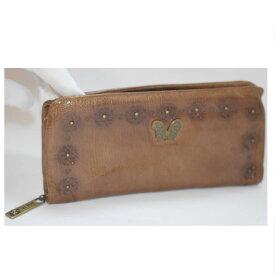 【中古】本物アナスイの女性用蝶の形のトップ付ブラウン色長財布 サイズW20H10D2cm ○C16-2-2