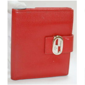 【中古】本物美品グッチの女性用赤いカーフ素材のWホックの財布 銀色Gマークメタルトップ付 サイズW12H10,5D2cm ○C16-14