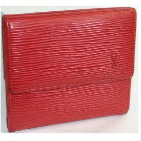 【中古】本物美品L/Vエピの赤いWホックの財布M63487 サイズW11H10D2cm ○C14-143