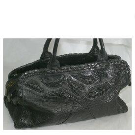 【中古】本物綺麗ROSE MARYローズマリー黒い革素材お洒落なフォルムのバッグ サイズW27xH12xD11cm ○C14-285