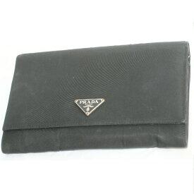 【中古】本物可プラダの軽いナイロン素材のファスナー付き長財布VS0075 サイズW18,5H11D2cm ○C15-121-1