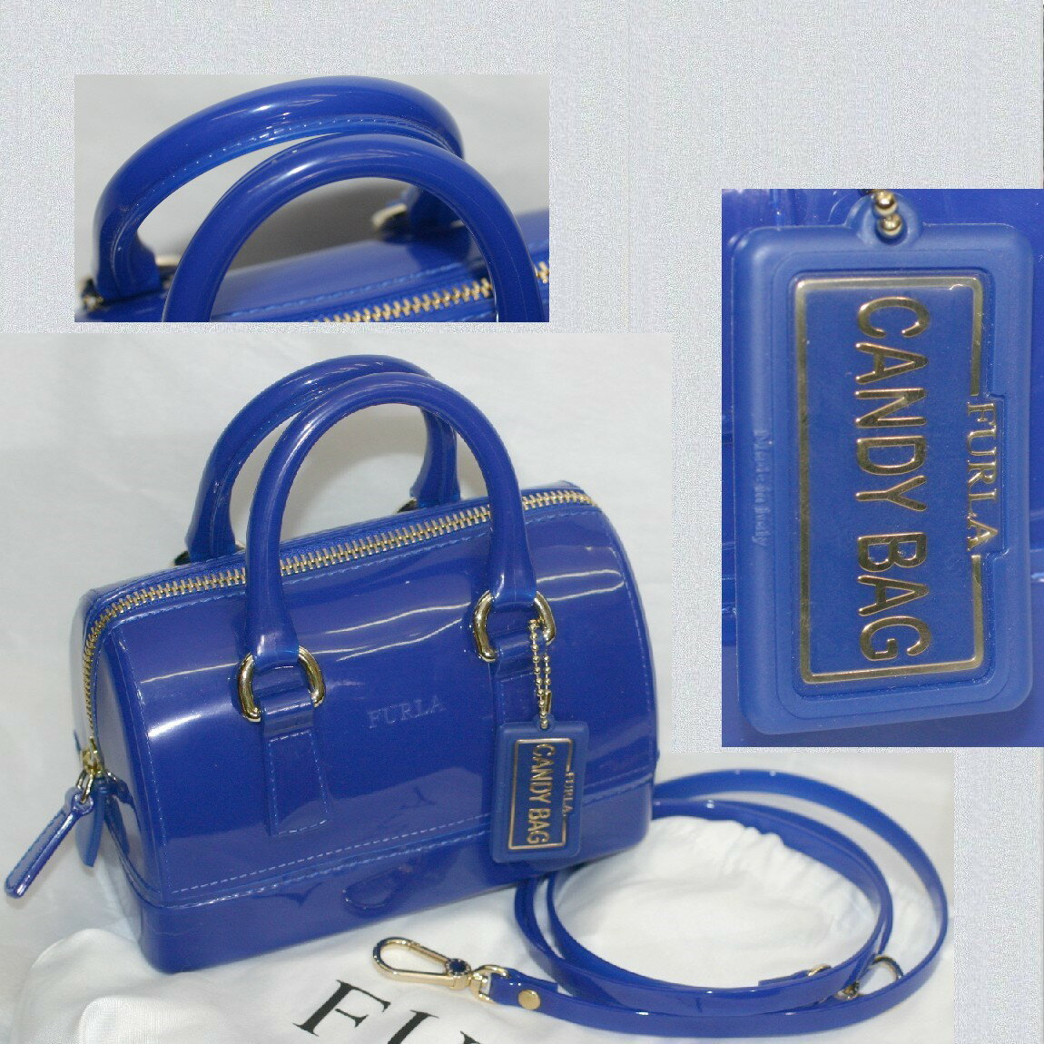 【中古】本物新品同様フルラ女性用群青色【濃い青】CANDY BAGキャンディバッグ16,5x11x8,5cm斜め掛け可能ショルダーストラップ付き