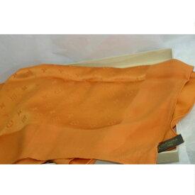 【中古】本物ほぼ新品L/Vシルク素材のオレンジ色のスカーフM71149モナコ サイズ90x90cm ○D5-195