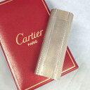 【中古】本物完動美品カルティエ7センチ楕円銀色横波型模様お洒落なライター オーバーホール済み