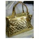 【中古】本物可アンドレルチアーノ女性用シャンパンゴールド色革素材ボストンバッグ旅行鞄 サイズW45H26,5D17,5cm 31…