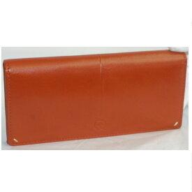 【中古】本物新品未使用Dakotaダコタブラックレーベルオレンジ色革素材のファスナー付長財布 サイズW19H9D2cm ○C15-85