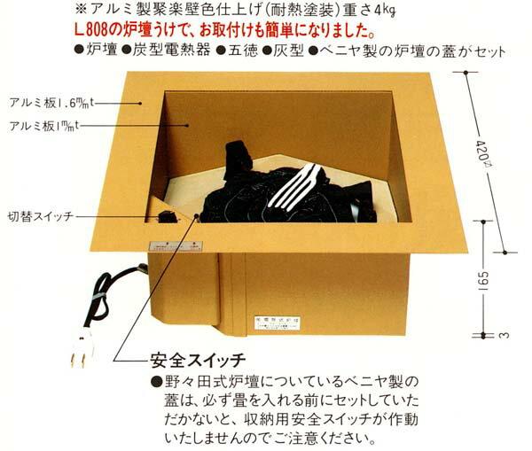 【電熱器/茶道具】L801 野々田式炉壇【送料・代引手数料無料】