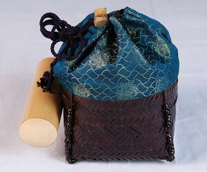 野点籠セット 糸目丸籠鳥襷緞子