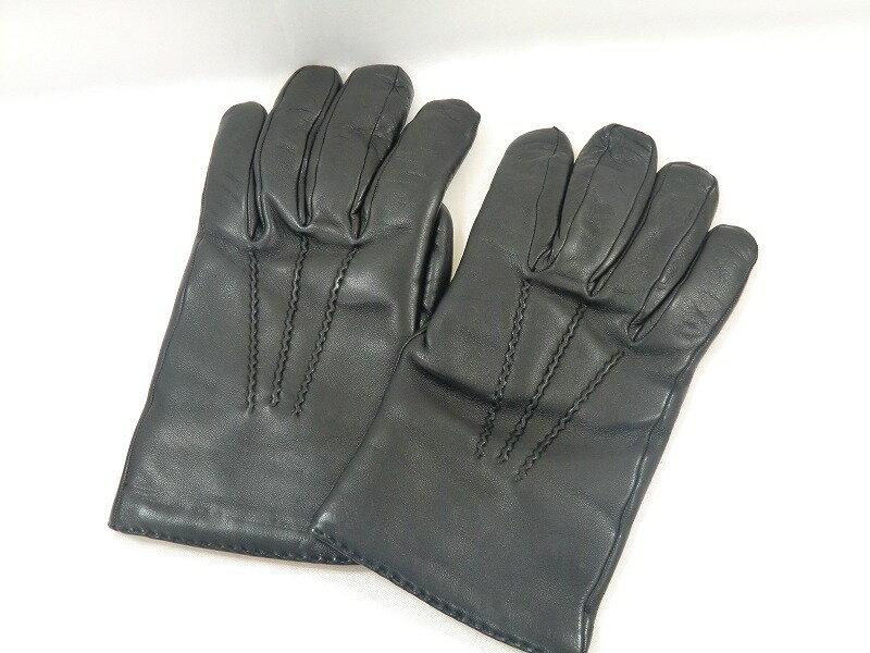 【送料無料】ロエベ LOEWE 手袋 レザー ウール ブラック レディース【中古】