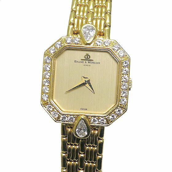 【USED】ボーム&メルシェ K18製ダイヤベゼル レディースクオーツ腕時計