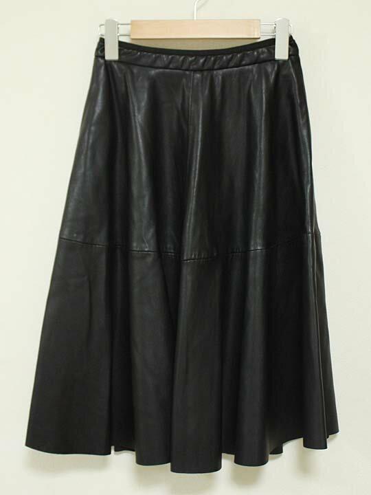 【値下げ】《ZARA BASIC/ザラベーシック》フェイクレザースカート ブラック/黒 レディース XS【中古 古着 USED】 春秋冬