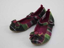 新貨未使用的物品◎jimbori/Gymboree◎18cm吊帶鞋綠×粉紅檢查小孩小孩kids女人的孩子
