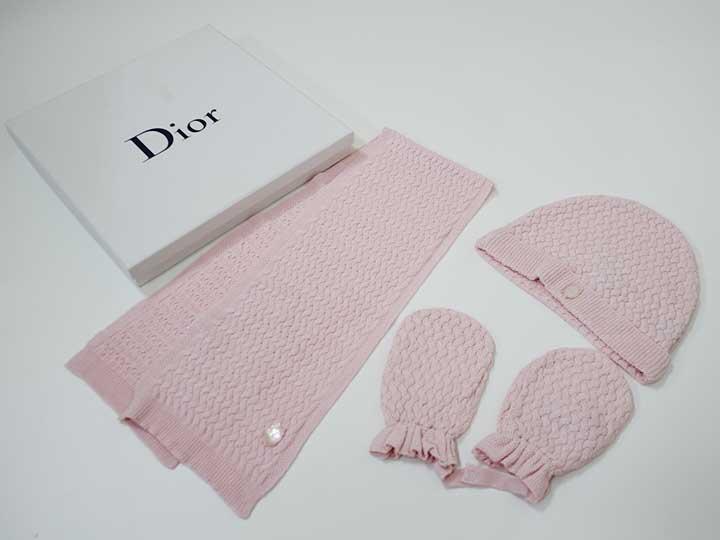 【SALE!】[ディオール/Dior]ベビーフリーサイズ ニット帽&マフラー&手袋セット ピンク カシミヤ混【中古 USED】【ネット限定】子供 キッズ kids ベビー baby 女の子 秋冬