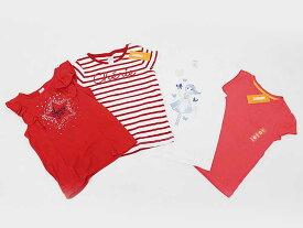 [ジンボリー/Gymboree]130cm 半袖Tシャツ/半袖カットソー/ロンT4枚set 赤&白×赤ボーダー&白&ピンク【中古 USED】【ネット限定】子供服 キッズ kids 女の子 夏