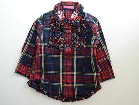 【Fashion THE SALE!】▽ロニィ/RONI▽87-97cm 長袖ブラウス 赤 チェック 袖2way【中古 USED】子供服 キッズ kids 女の子 秋冬