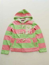 【Fashion THE SALE!】▽ロニィ/RONI▽137-146cm パーカ 黄緑×ピンク ボーダー【中古 USED】子供服 キッズ kids ジュニア 女の子 春秋 621191