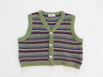 †patashu/PATACHOU†70cm編織物最好黄綠色×青系統邊緣童裝小孩kids嬰兒裝baby男人的孩子