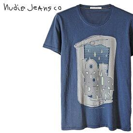 ■Nudie Jeans ヌーディージーンズ メンズ■Oネック ラウンドネック プリント 半袖 Tシャツ【O-NECK TEE LOVE YOUR DRYS】【サイズXS〜L】【ネイビー】ndj-m-t-83-525 《メーカー希望小売価格7,700円》