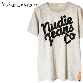 ■Nudie Jeans ヌーディージーンズ メンズ■Oネック ラウンドネック ロゴプリント 半袖 Tシャツ【O-NECK TEE NUDIE JEANS】【サイズXS〜L】【グレー】ndj-m-t-83-534 《メーカー希望小売価格7,700円》