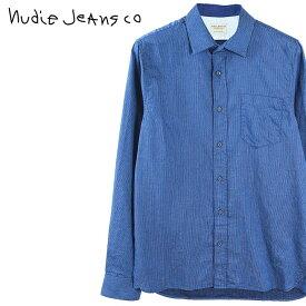 ■Nudie Jeans ヌーディージーンズ メンズ■薄手 ヘリンボーン 長袖シャツ【HENRY/INDIGO HERRINGBONE】【サイズXS〜L】【ブルー】ndj-m-t-83-602 《メーカー希望小売価格22,680円》